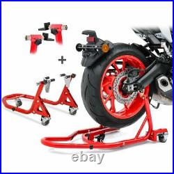 Motorcycle Paddock Stand Set Dolly Mover Rear and Front Constands XMR red